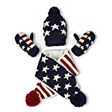 Vbiger Knitted Hat Scarf And Gloves Set For Kids (Star stripes)