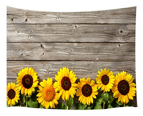 Sunflower Tapestry Wall Hanging, Spring Flowers on Rustic Wood Plank Country Theme, Tapestries Art Bedroom Living Room Dorm 71 X 60 Inches Wall Blankets Home Decor