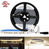 HitLights Warm White LED Light Strip, Premium High Density 3528-16.4 Feet, 600 LEDs, 3000K, 164 Lumens per Foot. UL-Listed. 12V DC Tape Light for Under Cabinet, Kitchen, Household& More