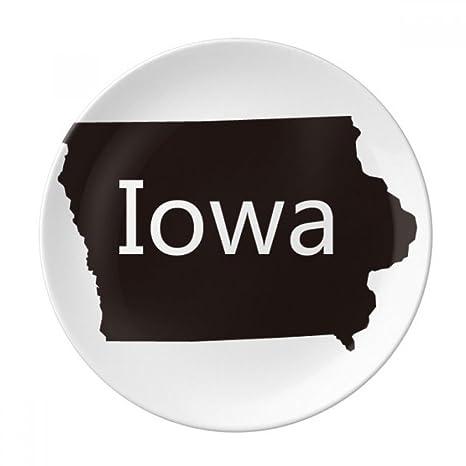 Iowa On Usa Map.Amazon Com Iowa America Usa Map Silhouette Dessert Plate Decorative