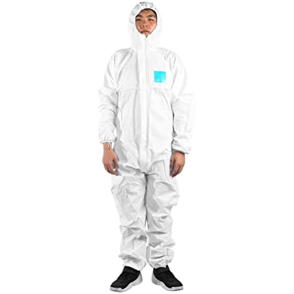 Pack of 25 DuPont Tyvek 800J TJ198T CE-Certified Cat-III Type-3//4//5//6 Chemical Protective Coverall Suit with Sealed Bag 2X-Large White