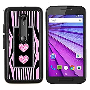 Cebra del brillo de la joya de Bling Pink- Metal de aluminio y de plástico duro Caja del teléfono - Negro - Motorola Moto G (3rd gen) / G3