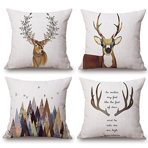 ULOVE LOVE YOURSELF Deer Throw Pillow Case 4 Pack Cotton Linen Cushion Covers,18 X 18 Inch Square Pillow Covers for Home Decorative (Deer) ()