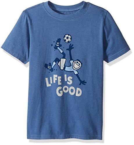 Life is good Boys Tee Bike Kick, Heather Vintage Blue, X-Large Soccer Crusher
