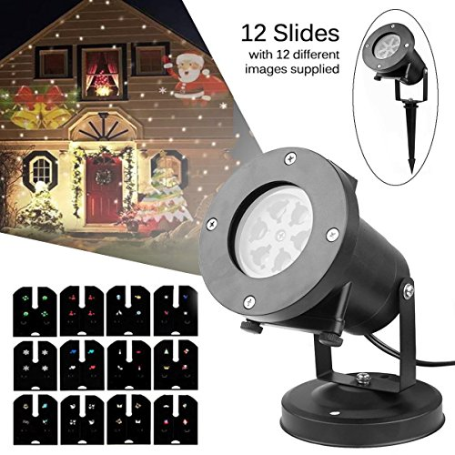 Halloween Yard Lights (eSUN Christmas Laser Projector Lights Halloween Outdoor IP65 Waterproof LED Spotlight for Festival Party Garden Yard, Rotating Projector Light with 12 Replaceable Colorful Slides)