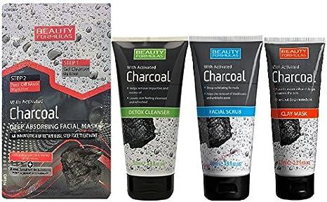 Belleza Fórmulas carbón 4 piezas Set – Detox Limpiador, exfoliante facial, máscara de arcilla