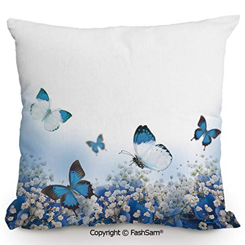 Hydrangea Blue Needlepoint - Home Super Soft Throw Pillow Blue Hydrangeas and Butterflies Rural Scenery Freshness Spring Yard Garden Decorative for Sofa Couch or Bed(18
