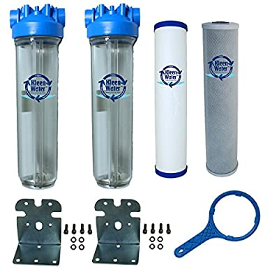 Chlorine and Sediment Removal Whole House Water Filter System by KleenWater, 4.5 X 20 Inch, Made in Italy, 1 Inch Threaded Inlet / Outlets