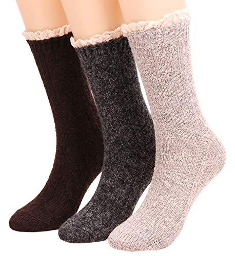 Womens Vintage Winter Boot Crew Socks Lace Trim Knit Dress Socks 3 Pack W607 (lace)