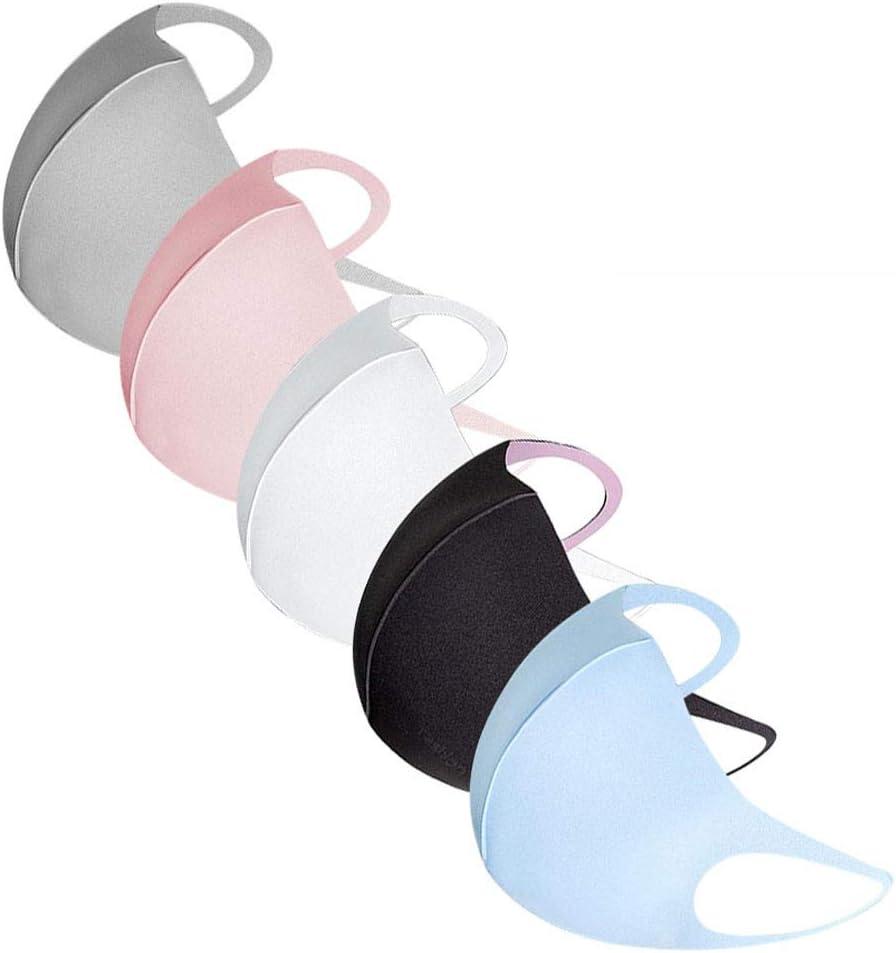 Máscara de oreja reutilizable y lavable para adultos, 5 piezas de algodón transpirable de seda de hielo facial, resistente al viento neblina y protección facial completa (5 colores, 5 unidades)