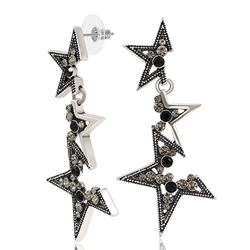 Black Crystal Fragmentary Star Dangle Earrings Women Fashion Jewelry ()