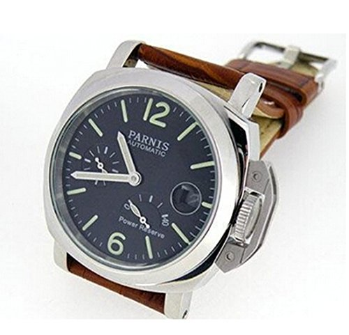Parnis Watches Power Reserve Indicator Automatic Sea-gull 2530 Brown Leather Strap P112417