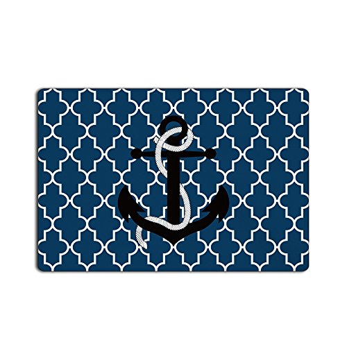 Custom Doormat Door Mat Blue Anchor Scalloped Durable Mats Rugs Bathroom Carpet