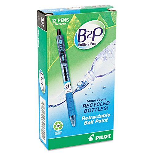 Pilot B2P Bottle 2 Pen Ballpoint Pens, Medium, Black, 12/pk