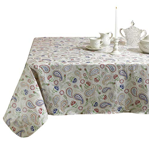 - HomeCrate Paisley Heavyweight Vinyl Tablecloth with Soft Flannel Backing - 60