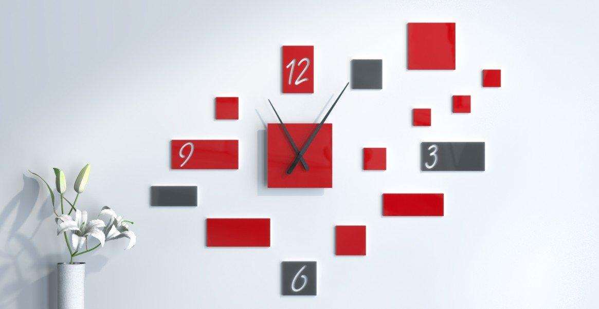 Wanduhr moderne Design Rot und Dunkelgrau personalisierbar