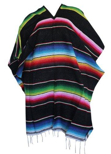 Serape Costumes (Del Mex (TM) Mexican Serape Poncho Pancho Adult Costume (Black))