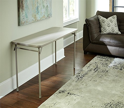 Cosco Dorel Industries Rectangle Vinyl Top Folding Serving Table, 20 x 48-Inch, Off White (White Vinyl Kitchen Top)