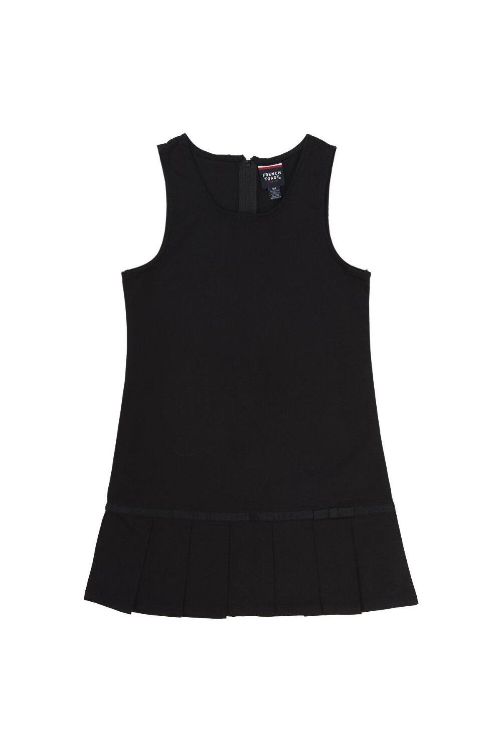 French Toast Big Girls' Pleated Hem Jumper with Ribbon, Black, 14