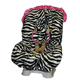 Baby Bella Maya Toddler Car Seat Cover In Zoe Zebra With Pink Ruffle