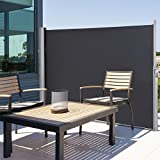 TANGKULA Outdoor Patio Retractable Folding Side Screen Awning Waterproof Sun Shade Wind Screen Privacy Divider (118.5'' x 63'', Grey)
