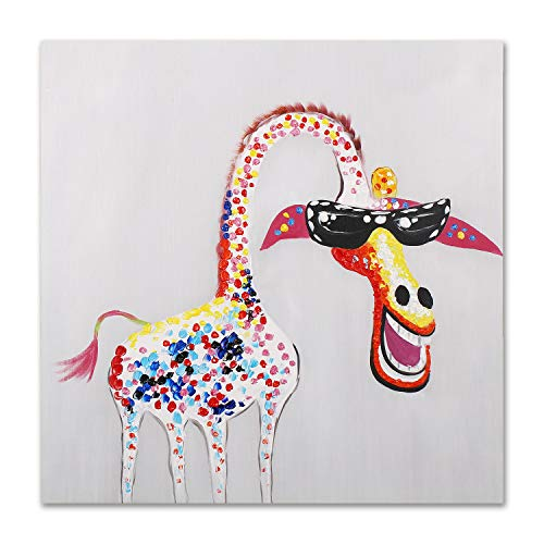 Art Hub 100% Hand Painted Oil Painting Modern Pop Art Décor Colorful Giraffe with Glasses Gallery Wrapped Framed Wall Decoration, 24x24 ()