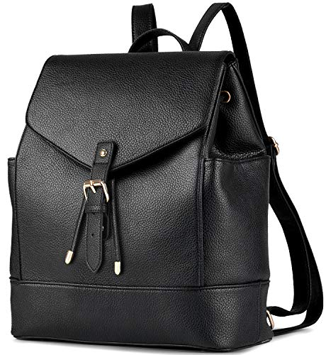 Leather Backpack, COOFIT Black PU Leather Backpack Schoolbag Casual Daypack for Women