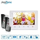 Jeatone Video Doorphone 4-Wires 2 Video Intercom System 7-inch Color Monitor and 1 HD Camera Video Doorbell Surface Mounted Outdoor Doorbell