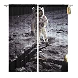 Golee Window Curtain Astronaut Landing on Moon Spacewalk of This Furnished Home Decor Rod Pocket Drapes 2 Panels Curtain 104 x 96 inches Review