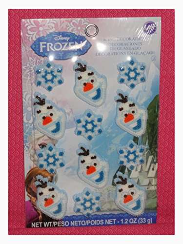 Frozen Disney,Olaf Edible Cupcake Toppers,Decorations,Wilton,710-4500,White/blue