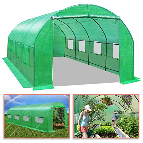 All Season Greenhouse - BenefitUSA GH052 Larger Hot Green House 20'X10'X7' Walk in Outdoor Plant Gardening Greenhouse