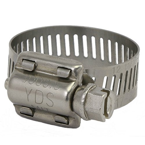 YDS All 300 Grade Stainless Steel High Torque Hose Clamp, Worm-Drive, SAE Size 12, 11/16'' to 1-1/4'' Diameter Range, 1/2'' Bandwidth (Pack of 10)
