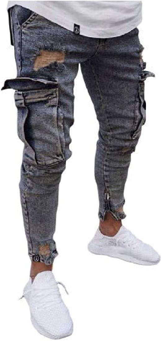 VITryst Men's Cut Out Stretchy Multi-pocket Distressed Comfy Zip Stretch Jean