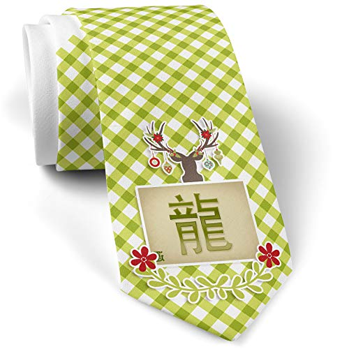 Green Plaid Christmas Neck Tie Dragon Chinese characters, green letter gift for men ()