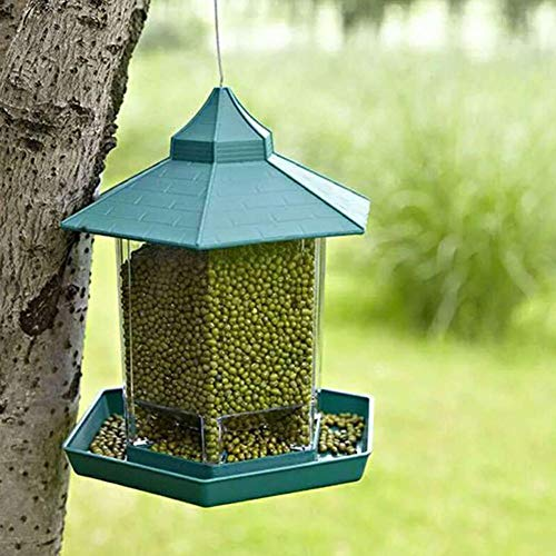 TRUST.STORE AsyPets Green Pavilion Bird Feeder Outdoor Hanging Food Container Garden Decoration Pet Enclosure Cage Cup ()
