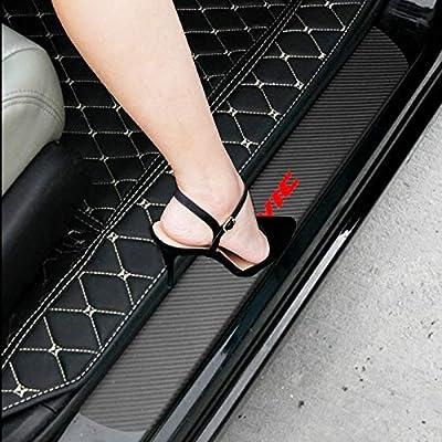 SENYAZON Car Decal Sticker Carbon Fibre Vinyl Reflective Car Door Sill Decoration Scuff Plate for Honda Civic (Black): Automotive