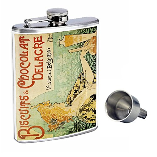 Perfection In Style 8oz Stainless Steel Whiskey Flask with Free Funnel D-055 Biscuits & Chocolat Delacre