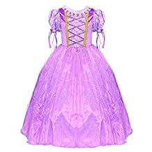 LOEL Girls Crew-Neckone Vintage Swing Rapunzel Princess Party Costume Long Dresses