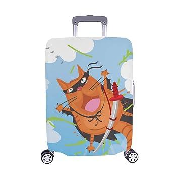 Black Cool Ninja Cat Pattern Spandex Trolley Funda de Viaje ...