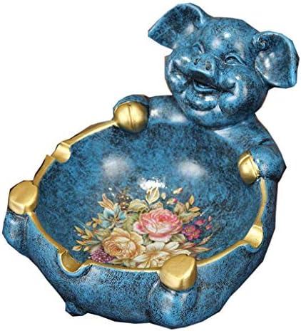 Luckya 灰皿北欧レトロピッグ灰皿リビングルームコーヒーテーブルクリエイティブパーソナリティ装飾品防風灰皿ジュエリー(色:ブルー、サイズ:F)