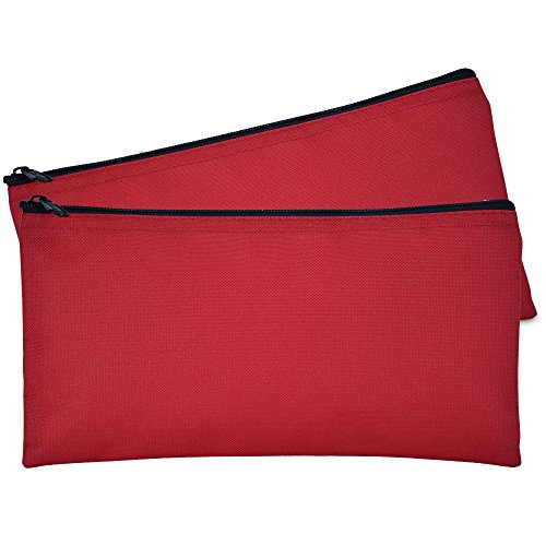 (DALIX Bank Bags Money Pouch Secur Deposit Utility Zipper Coin Bag Red 2 Pack)