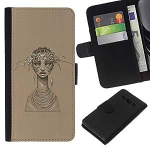 KLONGSHOP // Tirón de la caja Cartera de cuero con ranuras para tarjetas - Mujer Africana - Samsung Galaxy A3 //