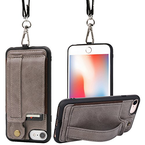 TOOVREN iPhone Necklace lanyard wallet case for 4.7 apple iPhone 6/6s/7/8, TPU Protective Case Cover with kickstand leather PU Card Holder Adjustable Detachable Strap for Anti-lost and Outdoors Gray