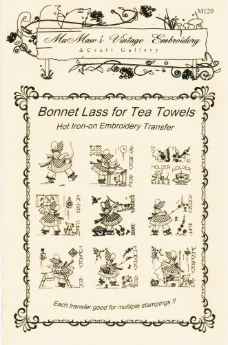 Bonnet Lass for Tea Towels Hot Iron Embroidery Transfers - Kitchen Towel Patterns