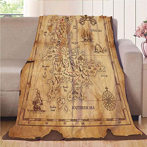 Throw Blanket Super soft and Cozy Fleece Blanket Perfect for Couch Sofa or bed,Island Map,Super Detailed Treasure Map Grungy Rustic Pirates Gold Secret Sea History Theme,Beige Brown,47.25