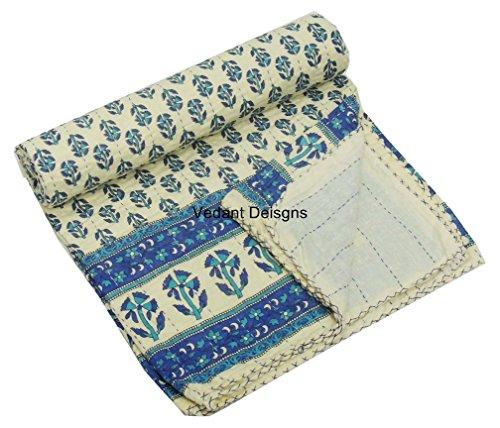 V Vedant Designs Indian Queen Size Hand Block Print Kantha Quilt 90x108 Inch Kantha Bedspread Floral Print Handmade Kantha Blanket Kantha Quilt