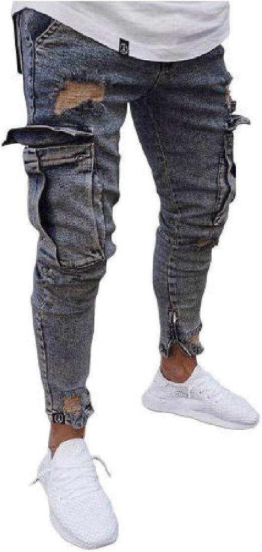 YAXINHE Mens Zipper Cut Out Multi-pocket Stretch Ripped Comfy Jean Trousers
