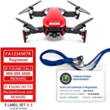 Mavic Air - FAA Drone Identification Bundle - Labels (3 sets of 3) + FAA UAS Registration ID Card for Hobbyist Pilots + Lanyard and ID Card Holder - Flame Red Shown