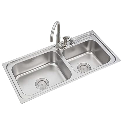 Anupam Ls338bb 304 Grade Stainless Steel Double Square Bowl Kitchen Sink 42 X 20 X 8 Inch Satin Finish Amazon In Home Improvement