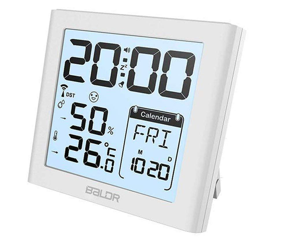 BALDR Desk Alarm Clocks with Snooze Date Calendar Functions and Indoor Thermometer Hygrometer, Portable Travel Clocks Temperature Humidity Meter Max/Min Record White Backlight (White)